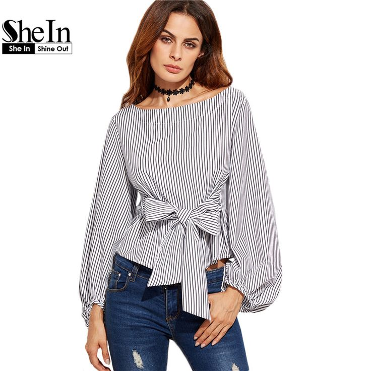 SheIn Women Blouses Black and White Striped Long Sleeve Womens Tops Ladies Shirts Autumn Bow Tie Front Elegant Blouse