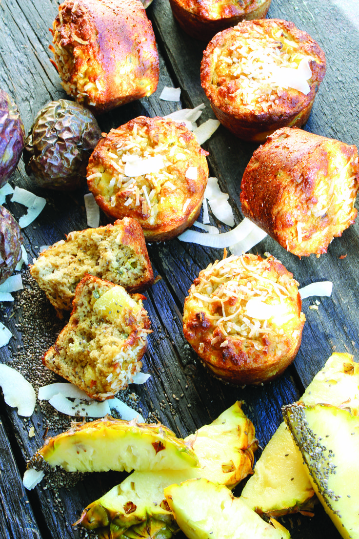 Tropical muffins, a great mid morning treat. gluten free, dairy free, no added sugar. A great healthy high protein snack.