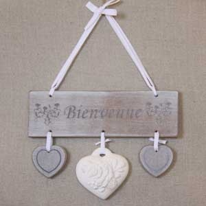 Pancarte d co bienvenue message de porte en bois for Decoration porte bienvenue