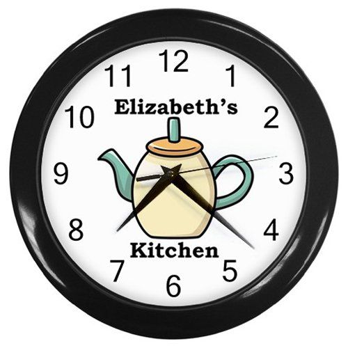 Personalized+Cream+Teapot+Kitchen+Wall+Clock