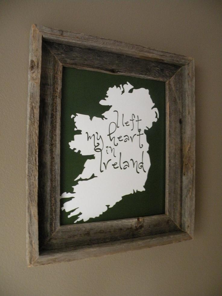 I Left My Heart In Ireland Map Print. $14.00, via Etsy.