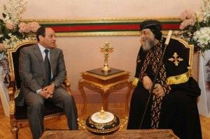 Abdel Fattah al-Sisi during his visit to the headquarters of the Pontifical Mark Cathedral Abbasia