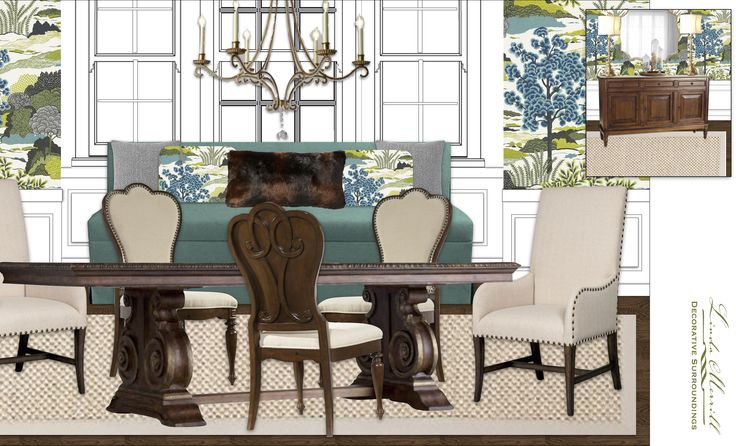 A romantic and bold dining room design. #Thibaut #wallpaper #fabric #dining #host #chairs #Hooker #ballard #designs #teal #white  #wood #Romantic #crystal #sideboard #sisal #carpet #virtual #design #edesign #edecor #rendering