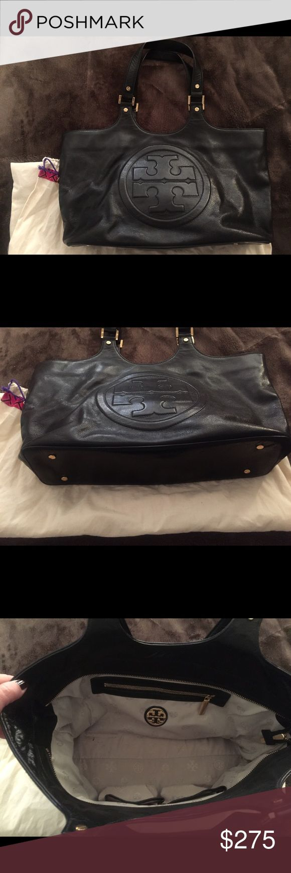 Tory burch black leather bombe bag Tory black leather bombe satchel bag. In excellent condition. Used only a few times.  Great work bag.  No scratches, stains or odors. Tory Burch Bags Satchels