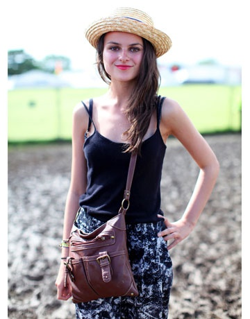 Glastonbury Fashion  The vintage boater hat and hot pink lips instantly won us over.    Read more: Glastonbury Music Festival Fashion Pictures – Style Pictures from Glastonbury - Harper's BAZAAR