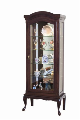 Amish Deluxe Queen Anne Curio Cabinet Display your favorite collections on the glass shelves of a curio.