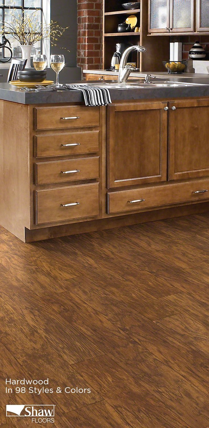 Waterproof hardwood = perfect for the kitchen! Check out our Floorté collection and the dozens of hardwood flooring options that Shaw Floors has to offer.