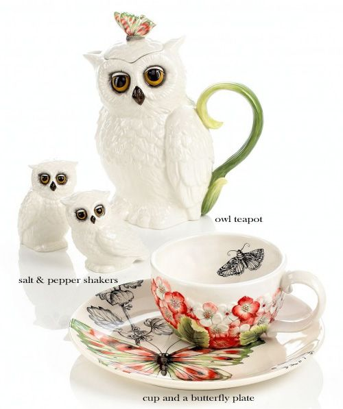 Edie Rose by Rachel Bilson Owl Teapot Dinnerware collection