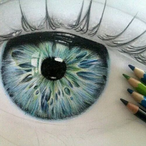 Image de eye, drawing, and blue
