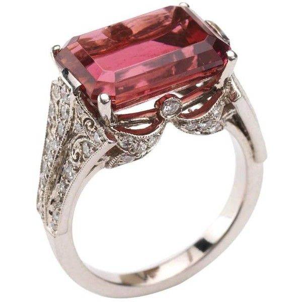 Preowned Pink Tourmaline Diamond Platinum Ring ($9,310) ❤ liked on Polyvore featuring jewelry, rings, cocktail rings, pink, emerald-cut rings, platinum diamond rings, emerald cut diamond ring, bezel diamond ring and pink tourmaline diamond ring