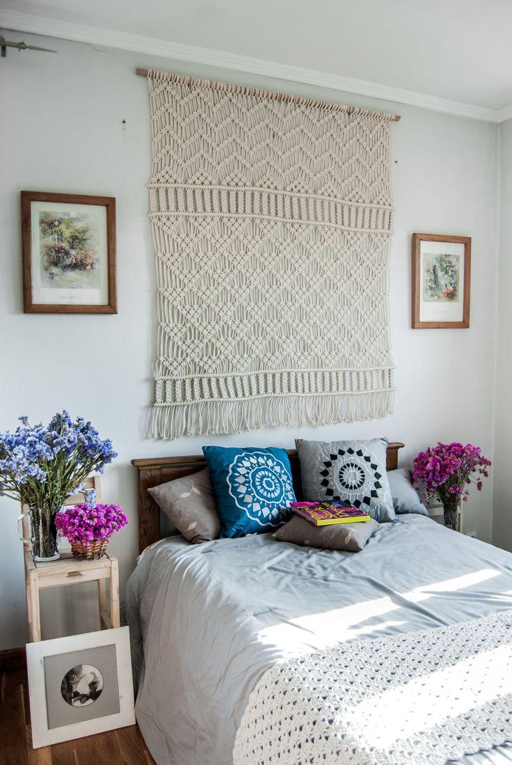 large macrame wall hanging macrame headboard macrame wall art farmhouse decor macrame wall. Black Bedroom Furniture Sets. Home Design Ideas