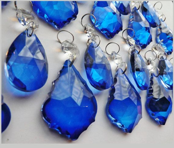 20 Royal Blue Chandelier Drops Glass Crystals by SeearLights