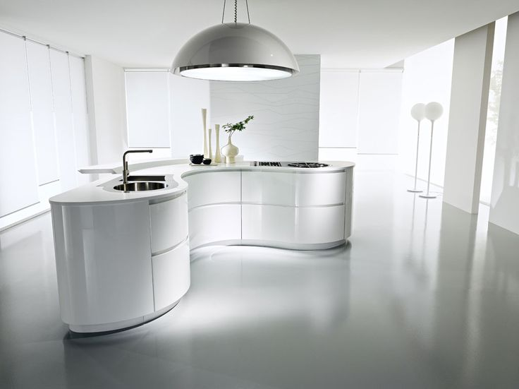 Kitchen White Sleek Curve Kitchen Island White Floor White Sleek Circular  Pedant Lamp White Sleek Wall Single Handle Kitchen Faucet Circle Kitchen  Sink ... Part 71
