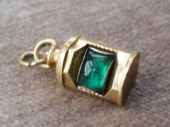 Nice 9ct Gold, gem set vintage Navigation Light or ships lantern charm with…