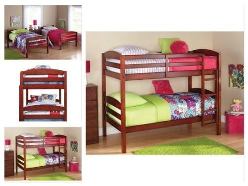 Twin-Over-Twin-Bunk-Bed-Kids-Teens-Furniture-Walnut-Bedroom-Wood-Ladder-Solid