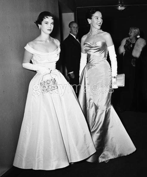 Mrs Leopold Stokowski (Gloria Vanderbilt) and Mrs Cornelius Vanderbilt Whitney at the Opera, 1952