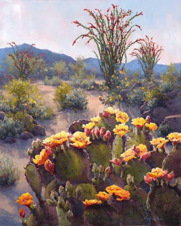 Sonoran Rainbow 36x24  www.LucyDickensFineArt.com  Oil landscape painting of the Sonoran desert in bloom near Carefree AZ