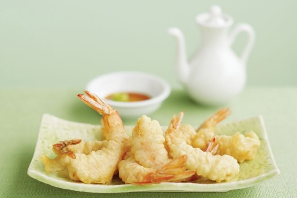 Delicious Tempura prawns served with a soy chilli dipping sauce