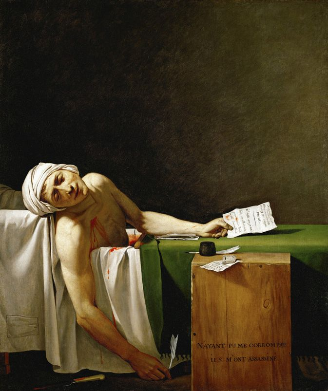 The Death of Marat (French: La Mort de Marat or Marat Assassiné) is a painting by Jacques-Louis David of the murdered French revolutionary leader Jean-Paul Marat. It is one of the most famous images of the Revolution. The painting shows the radical journalist lying dead in his bath on 13 July 1793 after his murder by Charlotte Corday.