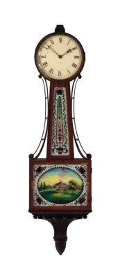 A PARCEL-GILT MAHOGANY AND VERRE EGLOMISE BANJO CLOCK,  LATE 19TH/20TH CENTURY