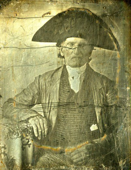 """<b> George Fishley, daguerreotype.</b> <br><br> George Fishley was a soldier in the Continental army. When the British army evacuated Philadelphia and raced toward New York City, his unit participated in the Battle of Monmouth. Later he was part the genocidal attack on Indians who had sided with the British, a march led by General John Sullivan through """"Indian country,"""" parts of New York and Pennsylvania. Fishley's regiment, the Third New Hampshire, was in the midst of the campaign's only…"""