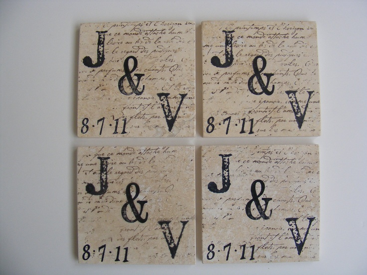 Just Married Monogram Travertine Tile Coasters - Set of 4 Drink Custom Coaster - Home Decor or Perfect Gift for Recent Engagement. $15.00, via Etsy.