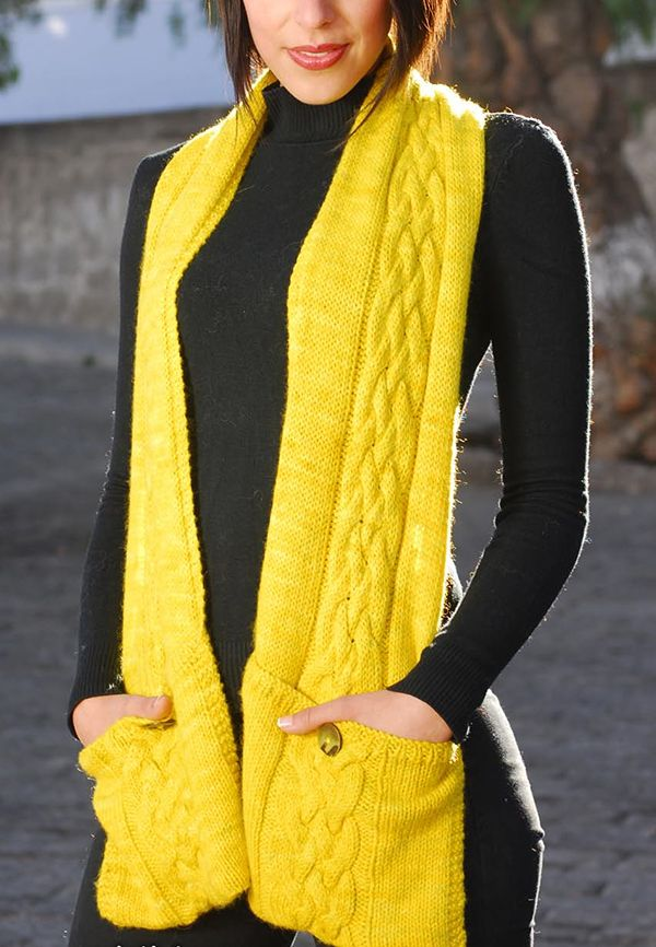 Free Knitting Pattern For Reader Scarf This Pocket Scarf Is Knit