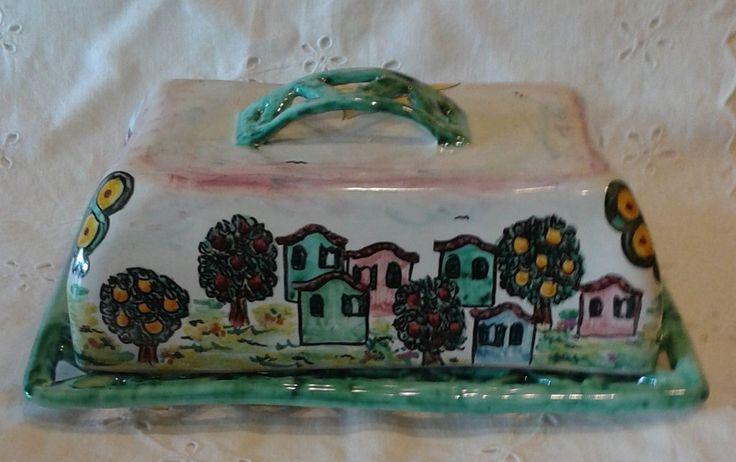 Burriera In maiolica realizzato interamente a mano.Decoro Paesaggio, by ilciliegio, 25,00 € su misshobby.com