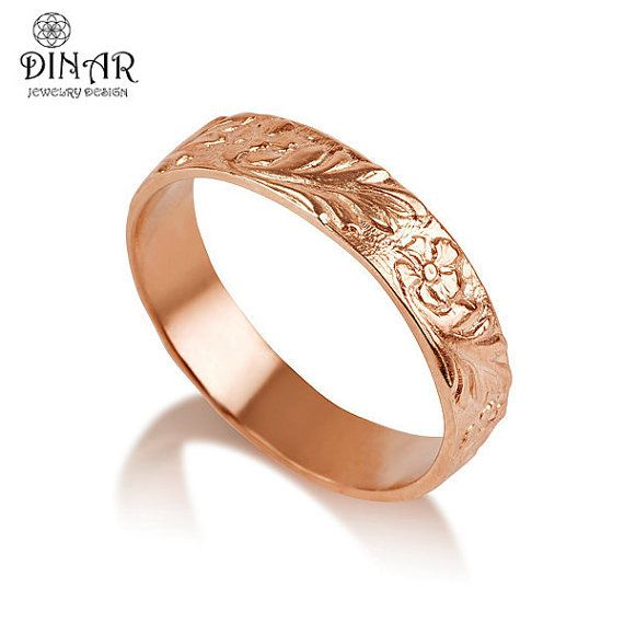 14k Rose Gold flower Wedding Band , handmade Flower engraved wedding ring , artisan women wedding ring, floral engraving men wedding band