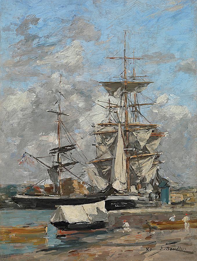 Eugene Boudin - Cale d'embarquement sur la Meuse à Rotterdam