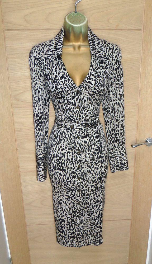 bcd702954523 AMAZING KAREN MILLEN SILK LEOPARD PRINT SHIRT DRESS MIDI UK 12 EU 40 PENCIL  #fashion #clothing #shoes #accessories #womensclothing #dresses (ebay link)