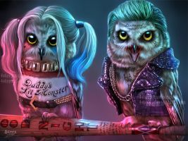 Suicowl Squad - Joker owl and Owly Quinn by 4steex