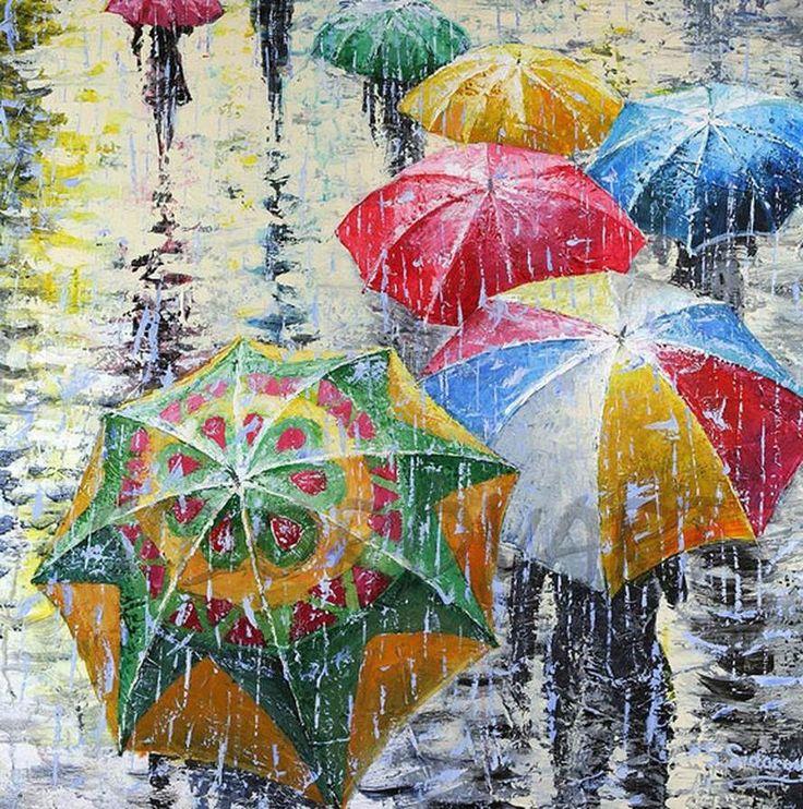 презент будет рисунок зонтики под дождем она печёт