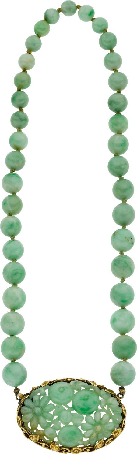 JADEITE JADE, GOLD NECKLACE. The beads alone are wonderful.