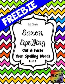 Saxon Spelling Cut and Paste ( S.Malek FREEBIE)