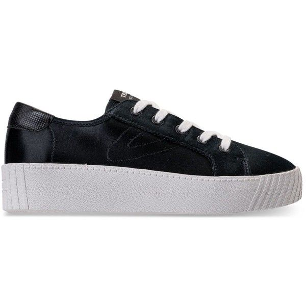 Tretorn Women's Blaire Satin Casual Sneakers from Finish Line ($65) ❤ liked on Polyvore featuring shoes, sneakers, platform shoes, platform trainers, tretorn, tretorn shoes and tretorn sneakers