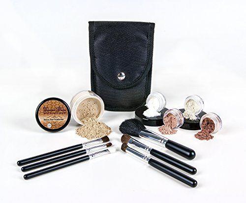 STARTER KIT with 6 pc BRUSH SET Mineral Makeup Bare Skin Matte Foundation Cover (Light Tan) - http://essential-organic.com/starter-kit-with-6-pc-brush-set-mineral-makeup-bare-skin-matte-foundation-cover-light-tan/
