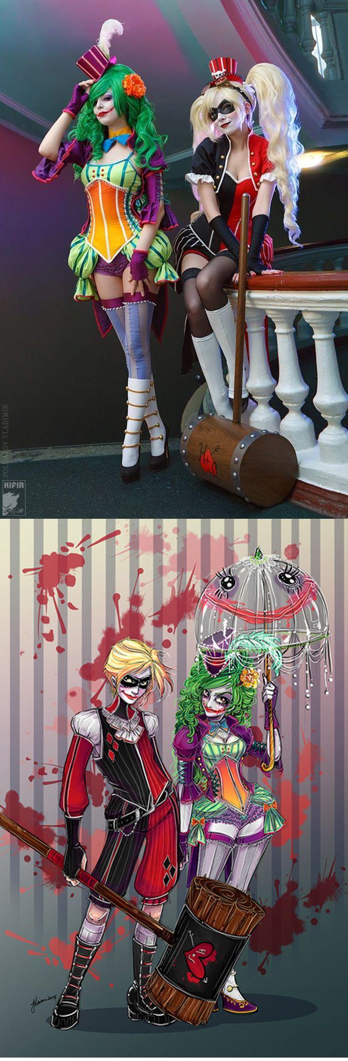Gorgeous art-inspired Joker & Harley cosplay.  Vibrant Victorian Harley Quinn And Lady Joker Cosplay [Video] | Fashionably Geek
