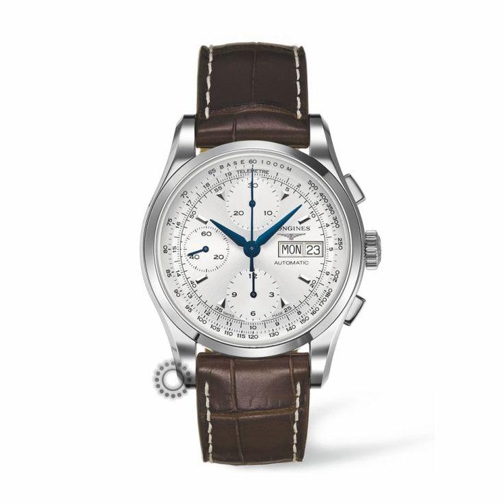 LONGINES ρολόγια ΤΣΑΛΔΑΡΗΣ L27474722 LONGINES Heritage 1954 automatic chronograph | Ανδρικό ρολόι LONGINES Heritage αυτόματος χρονογράφος με καφέ λουρί #heritage #longines #ρολόγια