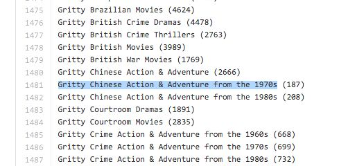 There are thousands more in this GitHub doc.   Did You Know That There Are Secret Codes On Netflix?