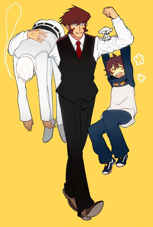 These guys act so much like brothers.  Klaus  as the Oldest Calm and Collected, Always looking after the others Zapp the middle constantly trying to outsate his older brother Klaus and Leo the youngest, not entily sure whats going on but glad for the friendship :p  Kekkai Sensen (BB:B)