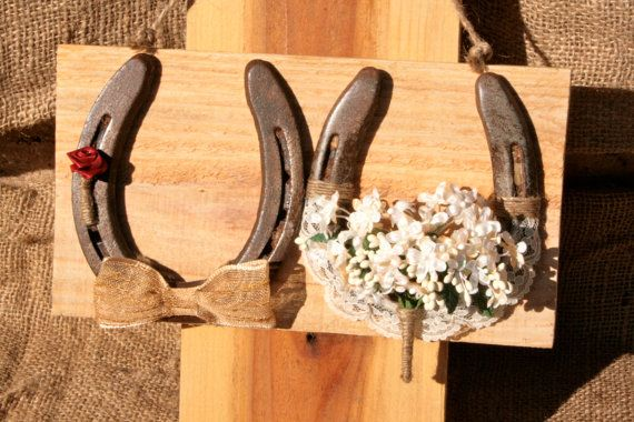 Lucky In LoveBride and Groom Horseshoe Set by RusticLuck on Etsy, $38.50