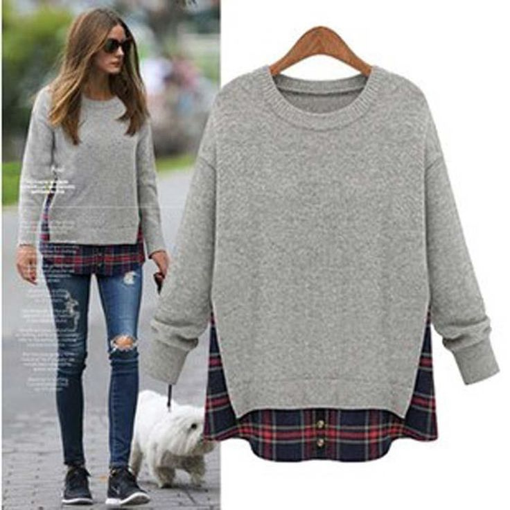 Plus Size Loose Scoop Long Sleeve False Two-piece T-Shirt 2