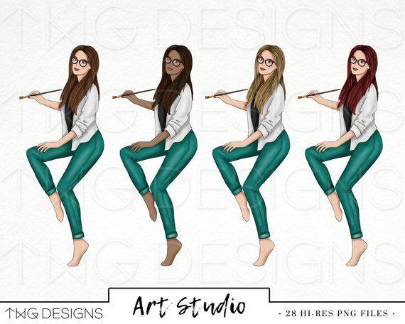 Art Studio Fashion Girl Clip Art Watercolor Clipart Artist Paint