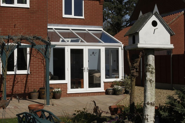 Anglian Garden Room Conservatory - White with dwarf wall