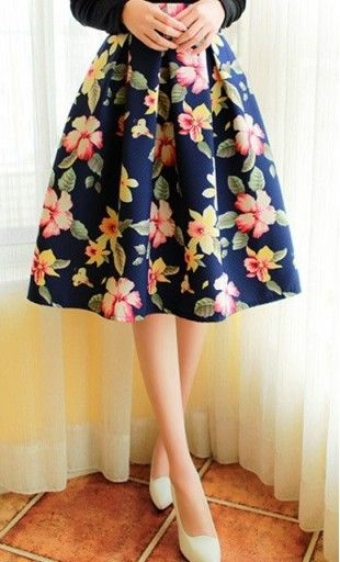 Betsy: women's knit fully lined navy blue high waist A-line skirt with floral print overlay available in M-XL #vintageskirts