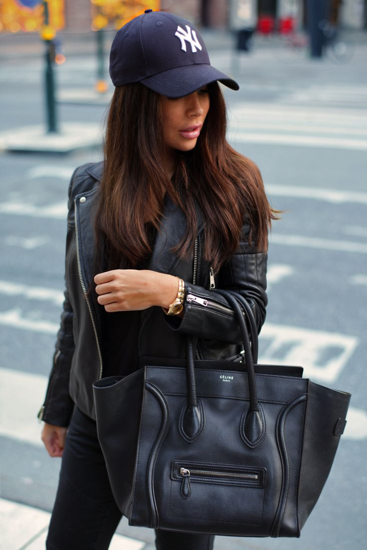 Johanna Olsson is wearing a leather jacket from Whistles, top from Zara and bag from Celine