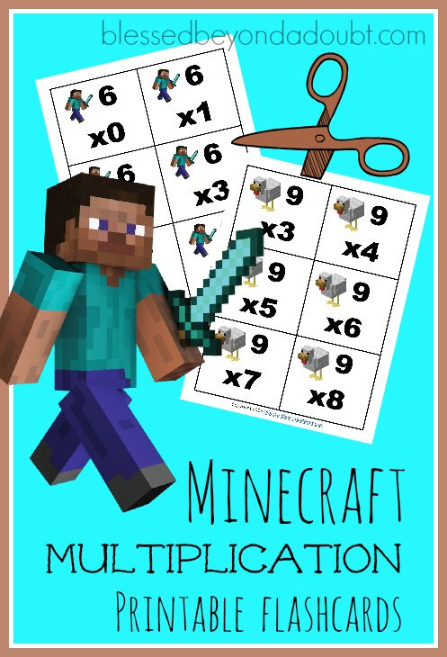 Download free Minecraft Multiplication Printable Flashcards.