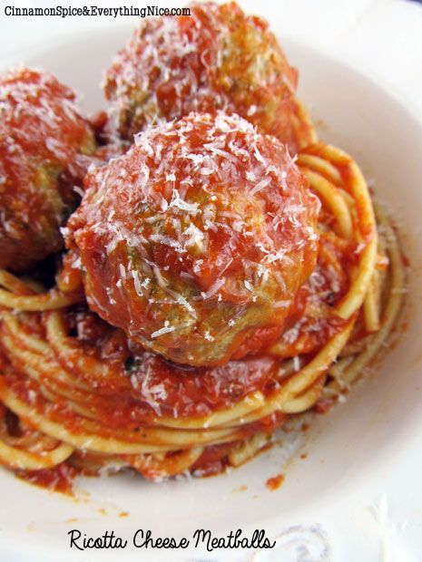 Ricotta Cheese Meatballs, these held together well, even without eggs and the recipe worked for meatloaf as well.
