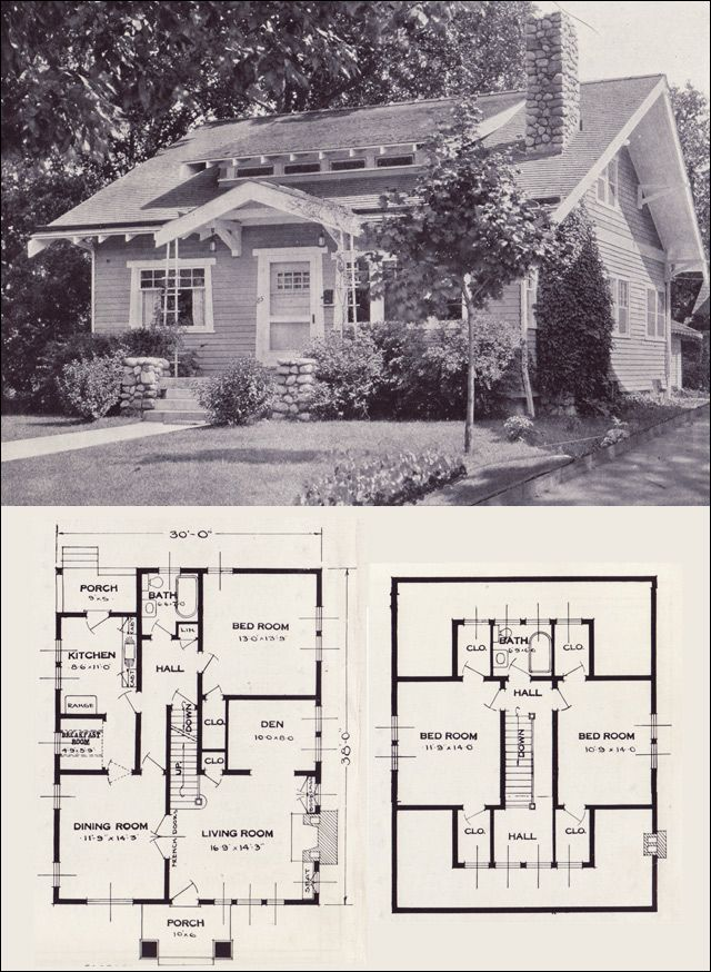 The Gladstone - 1923 Standard Homes Company- House Plans of the 1920s - Craftsman-style Bungalow Cottage